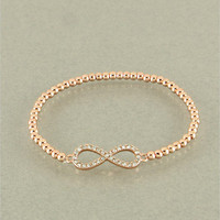 Rose Gold Rhinestone Infinity Bracelet