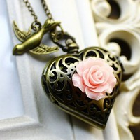 Romantic Vintage Heart Shape Bronze Locket Pocket Watch Necklace With Rose and Bird