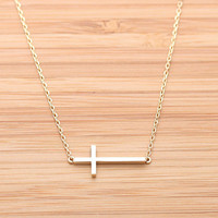 SIDEWAYS CROSS necklace, 2 colors(plated, 925sterling) | girlsluv.it