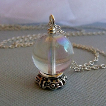 Fortune Tellers Crystal Ball Charm Necklace by pinkingedgedesigns