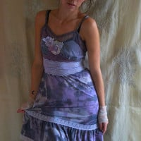 Agate Slip Dress... Size Medium... Tie Dye Fairy Boho Bridesmaid Tea Party Day Evening Free People Style Eco Friendly Recycled