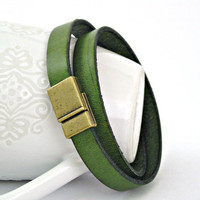 Green leather bracelet double wrapped with by TyssHandmadeJewelry