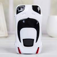 Sport Car Style Plastic Hard Cover Case for Iphone 4/4s white