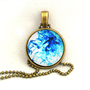 10% SALE - Necklace Water Ink Abstract Lake Blue Pendant Necklaces Gift