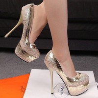 Wholesale Superior fashion personalized sequin pumps XD-DZ666-12 deep khaki - Lovely Fashion