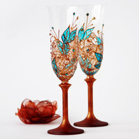 Copper and Turquoise Champagne Toasting Flutes by NevenaArtGlass