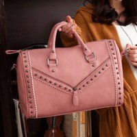 Wholesale Stylish nice handbags with rivet decoration TW-2504PK - Lovely Fashion