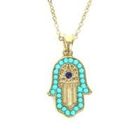 Turquoise Hamsa Necklace Hand of Miriam Evil Eye Vintage Judaica Protection Amulet