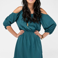 No Shoulders Dress in Teal :: tobi