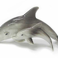 DOLPHIN w/CALF New MINIATURE Porcelain NORTHERN ROSE R110 [R110] - $14.99 :