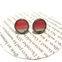 Painted Red Leather Stud Earrings, Leather Earrings, Earstuds, Ear Stud Earring