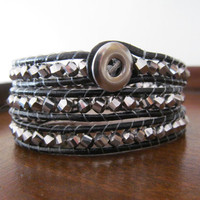 Silver Iris Glass Leather Wrap