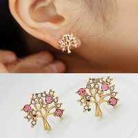 Diamond blessing tree stud  earring     from looback