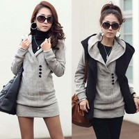 New Korean Womens Knitting Sweaters Outerwears Long Knit Tops Buttons