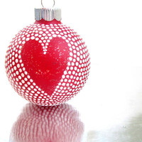 Red Heart: Red and White Hand painted glass ornament Small