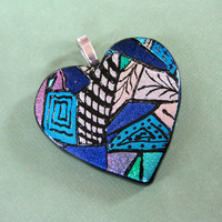 Dichroic Glass Heart Pendant, Large Hand Etched Heart Jewelry, Etsy Fashion - Honeyville - 3972