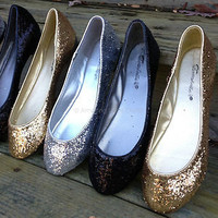 Glitter Sparkle Pretty Ballet Flat Shiny Metallic Gold Silver Black Women Shoes