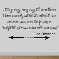 ONE DIRECTION wall quote wall sticker live while we're young wall sticker 88