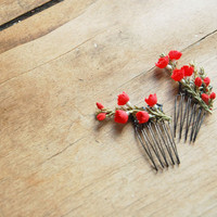 $18.00 Cherry Blossom Hair Combs  RUBY  Set of Two by alexandragrecco