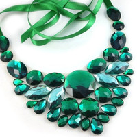 bib emerald necklace - emerlad green rhinestone bib necklace party prom wedding birdesmaids or gift, hig fashion statement necklace