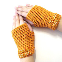 Crochet Fingerless Gloves, Adult fingerless gloves, Wrist warmer, Winter gloves, valentine gifts, burnt orange, gifts for her, valentines