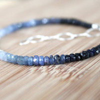 Genuine Sapphire Ombre Bracelet. Blue to White September Birthstone. Luxury Fashion Jewelry
