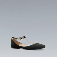 T-BAR BALLERINA SHOES WITH CHAIN DETAIL - Shoes - Woman - ZARA United States