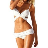 Women's Sexy Bikini Halter Lotus Bandeau Padded Push up Swimwear Swimsuit Bra Bottom Underwear White