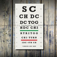 Crocheter's Eye Chart TM 11 x 17 Art Print Various by ILiveonaFarm