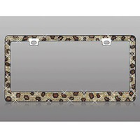 Diamante Crystal License Plate Frame, Leopard Print