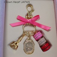 New LADUREE Paris Keychain Ring Macaron Eiffel Tower Pink in Gift Box MARKS JP