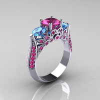 Classic 950 Platinum Three Stone Blue Topaz Pink Sapphire Solitaire Ring R200-PLATBTPS