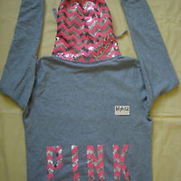NWT Victoria's Secret Pink 2013 Sequins Limited Hoodie Sweatshirt L large Bling