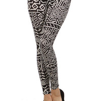 Aztec Tribal Leggings Black &amp; White from Milly Kate