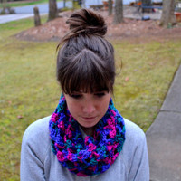 Multicolored Crocheted Infinity Scarf