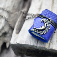 MiniatureBook Necklace Crescent &amp; Ultramarine Blue leather