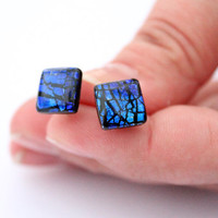 Tiny Earrings - Square Ear Studs - Galactic Blue - Everyday Earrings - Women Jewelry - Childrens Jewelry - Gift idea