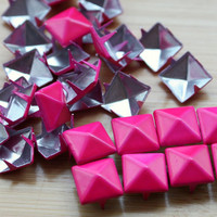 100pcs 5/16 inch9mm Hot Pink Painted Pyramid by rivetbuttonshop