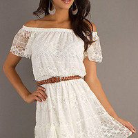 Ivory Short Off the Shoulder Lace Dress