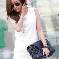 Stylish Korean Ruffle White Summer Dresses : Wholesaleclothing4u.com