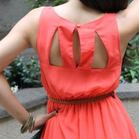 Cutout Back 'Sadie' Dress with Belt (Coral)