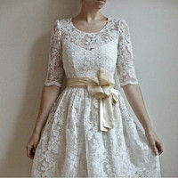 Ellie2 Piece Lace and Cotton Wedding DressEtsy by Leanimal on Etsy