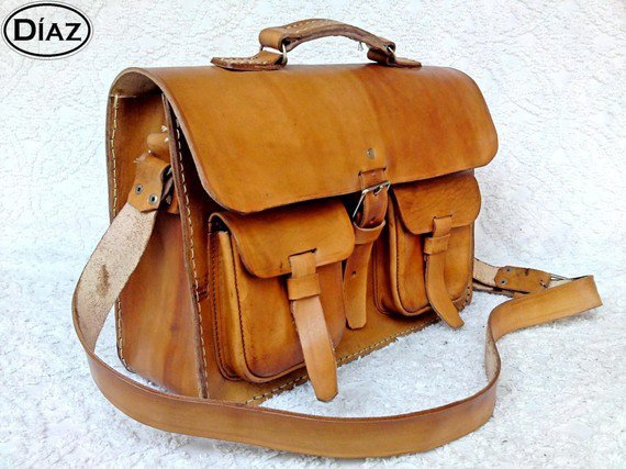 Light Tan Brown Rawhide Leather Messenger Laptop by DiazBags