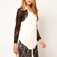 Shirt Dress With Lace Panels