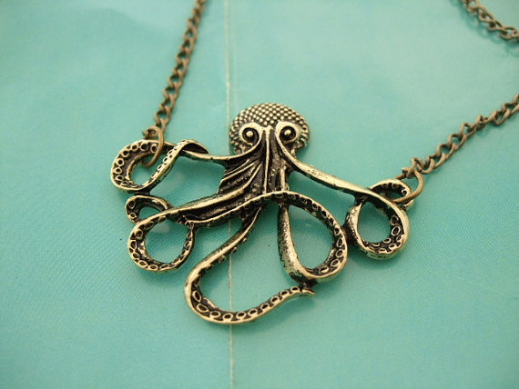Antique Bronze brass Octopus Necklace Pendant cute by welkoip