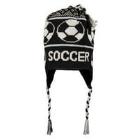 Fleece Lined Soccer Knit Hat BLK/WHT