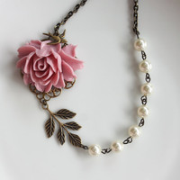 A Pink Rose Flower Ivory Swarovski Pearls Swallow Bird by Marolsha