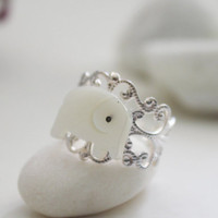 Good Luck Elephant Ring Mother of Pearl by PolliniAtelier on Etsy