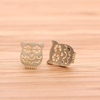 OWL stud earrings in gold by fromthenature on Etsy