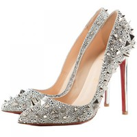 Christian Louboutin Pigalili 120mm Pumps Silver - $188
